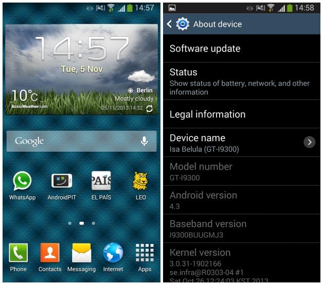 Galaxy S3 Android 4.3 Güncellemesi