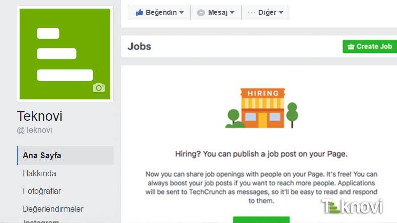 Facebook Linkedin Tarzı iş ilanı Özelliği Getiriyor